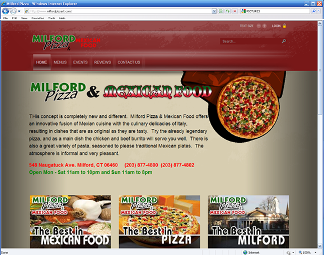 milford pizza website