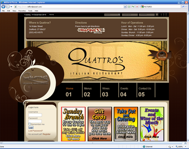 Quattros Restaurant website